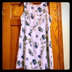 Sleeveless Pale Blue Flowered Dress, Size L